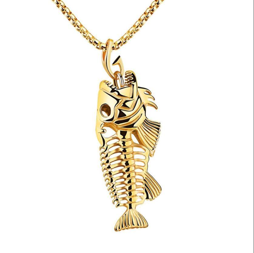 سحر عظم السمك الصيد هوك قلادة القلائد shellhard المقاوم للصدأ الجوف السمك الهيكل العظمي العظام قلادة الأزياء والمجوهرات هدية بالجملة