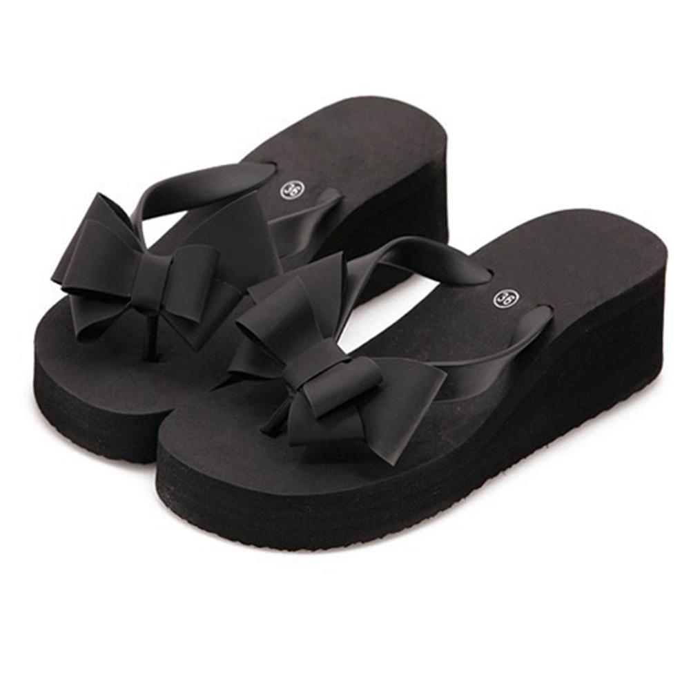 Fashion Women Slippers Platform Wedge Bohemian Bowknot Ladies High Flat Heel Fabala Flip Flops Sandals Antiskid