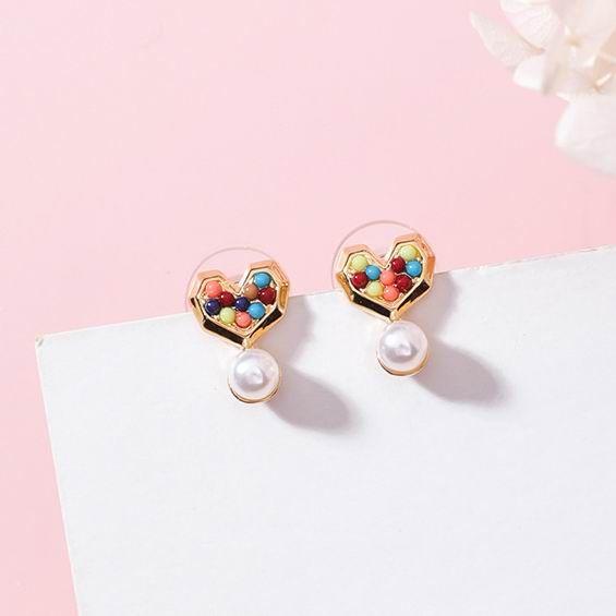 Kore Yeni Aşk Kalp Küçük Damla Küpe Kadınlar Için Şeker Renk Simüle Inci Sevimli Brincos Moda Takı
