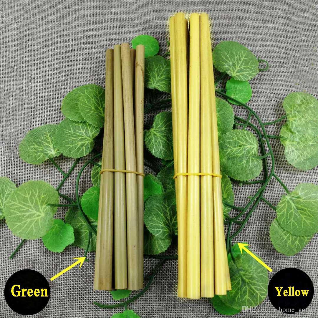 100٪ الطبيعية الجافة الأصفر الأخضر الخيزران القش 195/1/200/23 سنتيمتر قابلة لإعادة الاستخدام القش صديقة للبيئة صحي شرب القش ل حفل زفاف بار أدوات