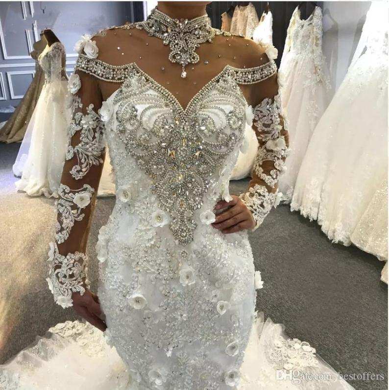 vestito sposa High Neck Long Sleeve Crystal Mermaid African Wedding Dresses 2020 See Through Sweep Train 3D Lace Applique Plus Size Bridal