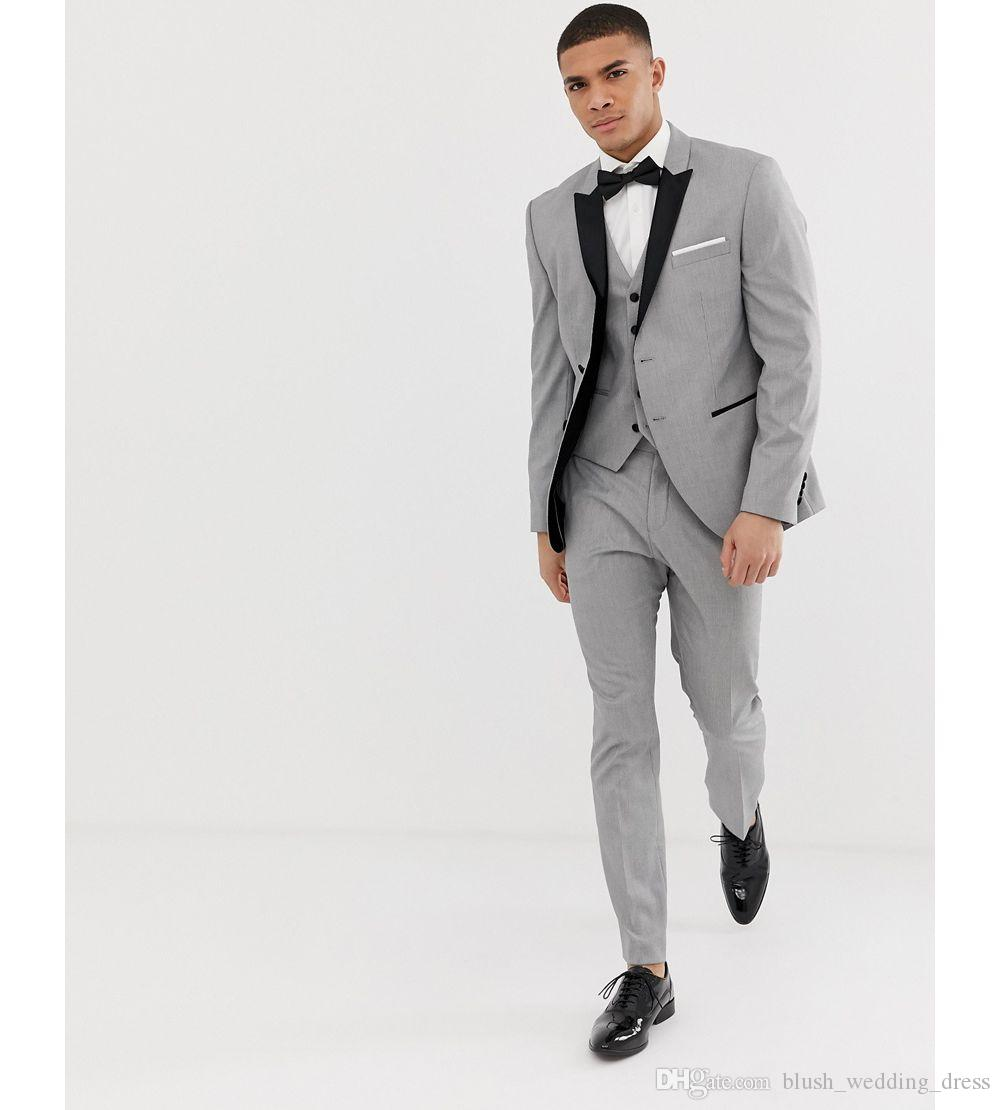 2020 Grey Mens Suits Black Lapel Slim Fit Wedding Suits for Groom / Groomsmen Prom Casual Suits Custom Made (Jacket+Pants+Vest+Bow)