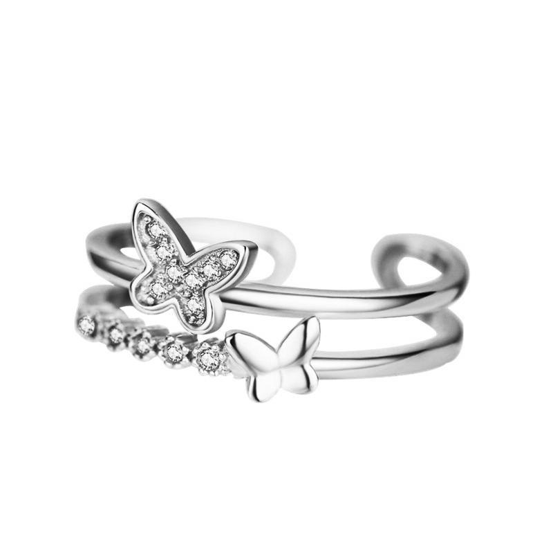 Borboleta criativo de prata esterlina 925 para as mulheres do sexo feminino Cristal Silver Ring coreano Partido Style Ladies Jóias Gifs
