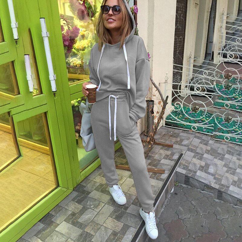 Yeni Kadın Tracksuits Moda Kapşonlu Kadın Giyim Kadın Sweatshirt + Katı uzun pantolon 2adet Setleri Tops ayarlar