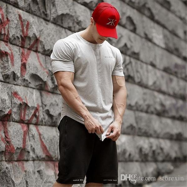 2019 Muscle Fitness Brothers Nouveaux Hommes Running Sports Loisirs Retour Lettre T-shirt de gym à manches courtes