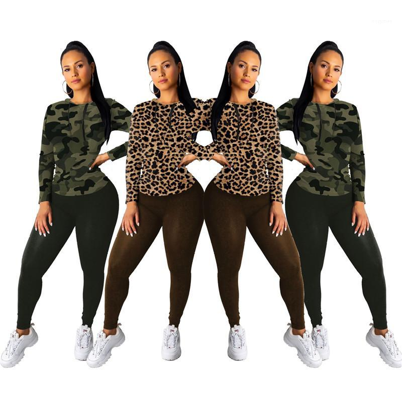 Slim Pants Famale Two Piece Set Womens Leopard Print Casual Tracksuit Fashion Long Sleeve Tshirt Solid Color