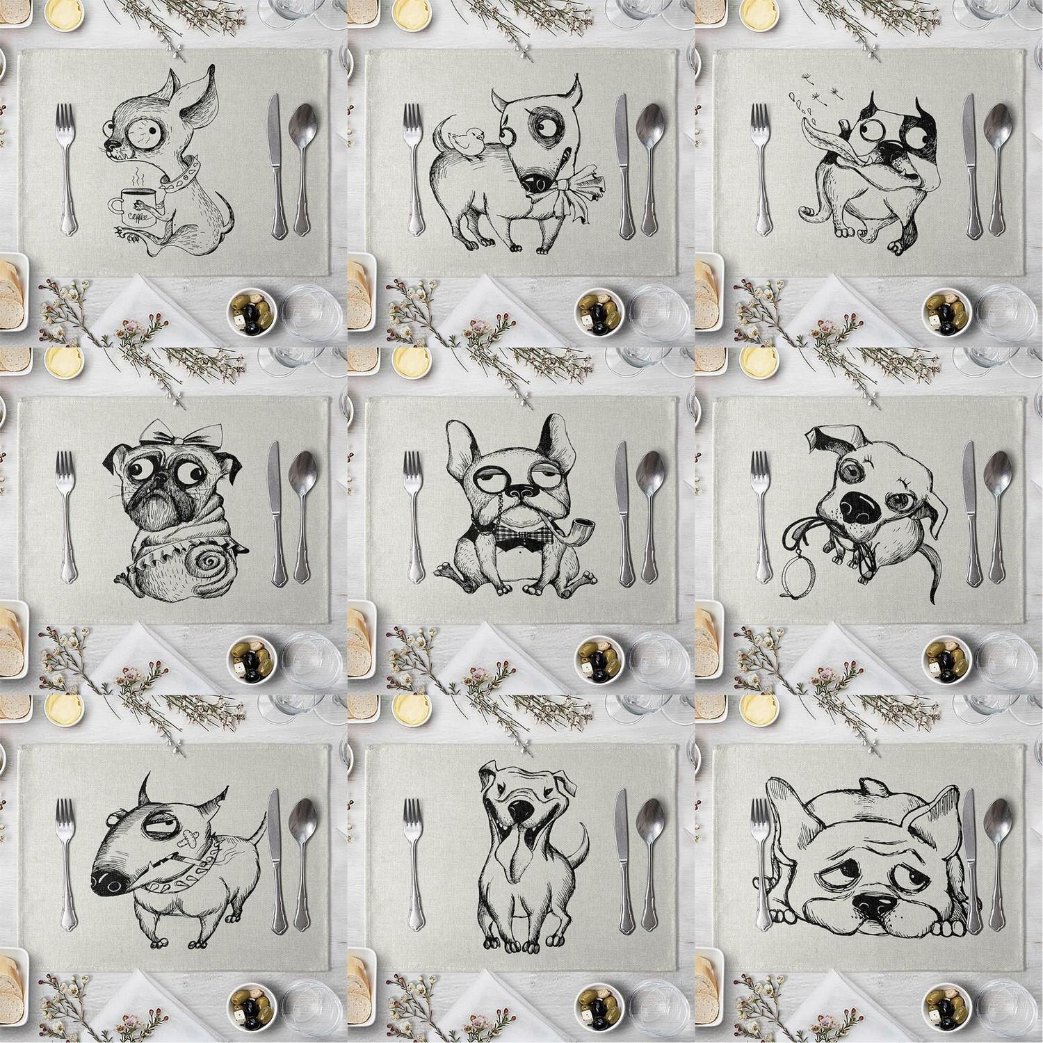 Funny Dog Pattern Placemat Dining Table Mat Drink Coasters Western Pad Linen Cup Mat 40*30cm Kitchen Accessory T200703