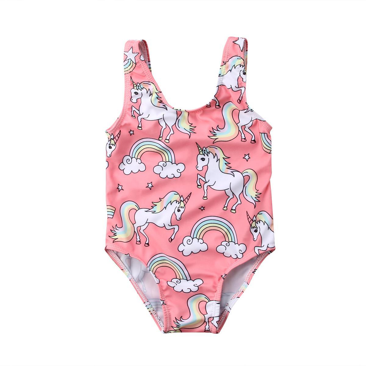Estrenar infantil del niño recién nacido de los bebés de los niños del traje de baño traje de baño de Tankini del bikini del unicornio del arco iris de vestuario 0-3T