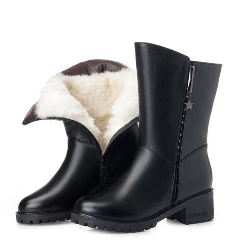 100 % 자연 전체 정품 가죽 부츠 겨울 따뜻한 편안 봉 제 및 모피 한 양모 눈 부츠 패션 우아한 겨울 여성 부츠 플러스 크기