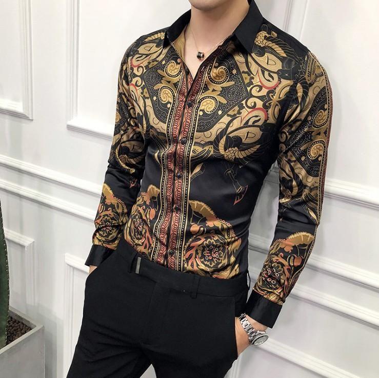 Autunno d'oro Mens Maglie Social Club Shirt barocchi Camicia Camisa Slim Fit Black Gold Mens