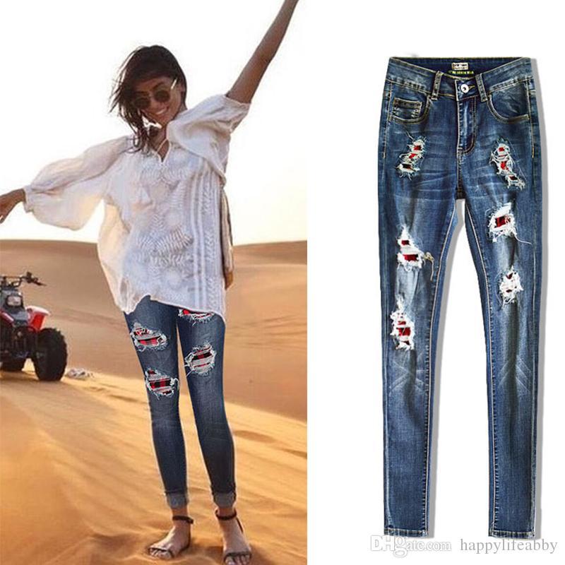 HOT coton doux denim extensible trous Ripped femmes Buffalo Jeans Patches Plaid Skinny Distressed Denim Pants plaid