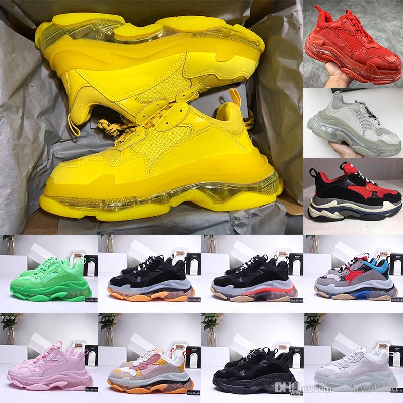 2020 أحذية عارضة الازياء مشرق الكباد الثلاثي-S 17FW الرياضة احذية Tripler الأسود الوردي كريستال أسفل أحذية باريس ثلاثة أضعاف ق منصة