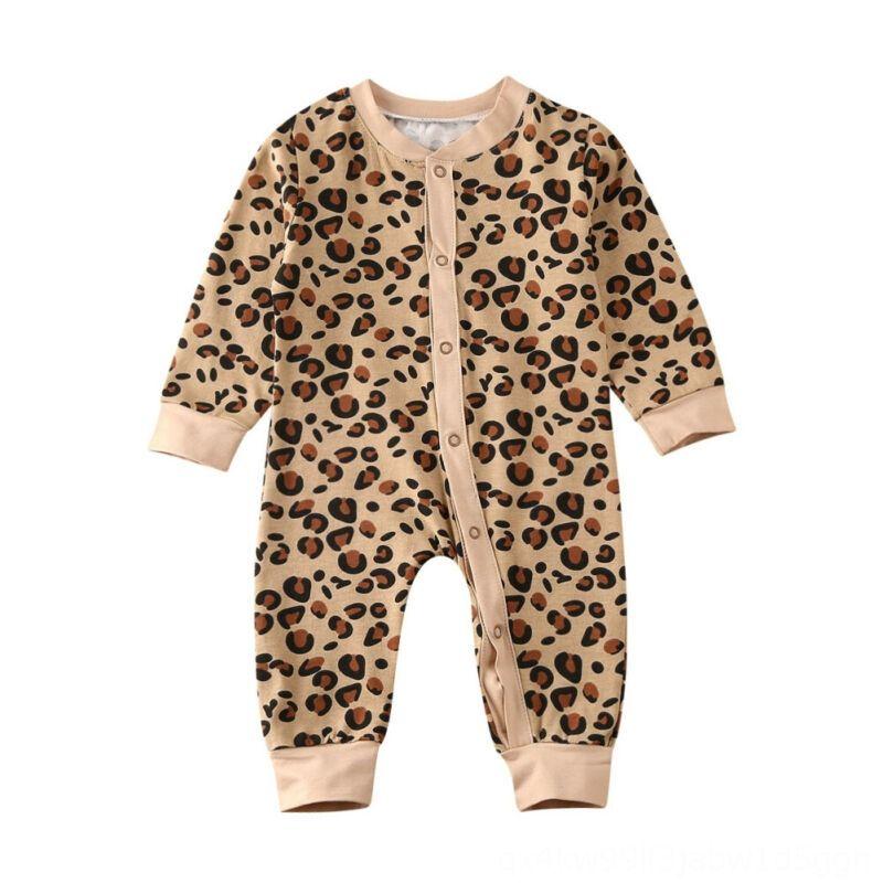 0-12M Yenidoğan Bebek Kız JumpsuitsRompers Bebek Çocuk Giyim Boys Leopar tulum Uzun Kollu Tulum Sonbahar İlkbahar Bebek Bebek Bezi