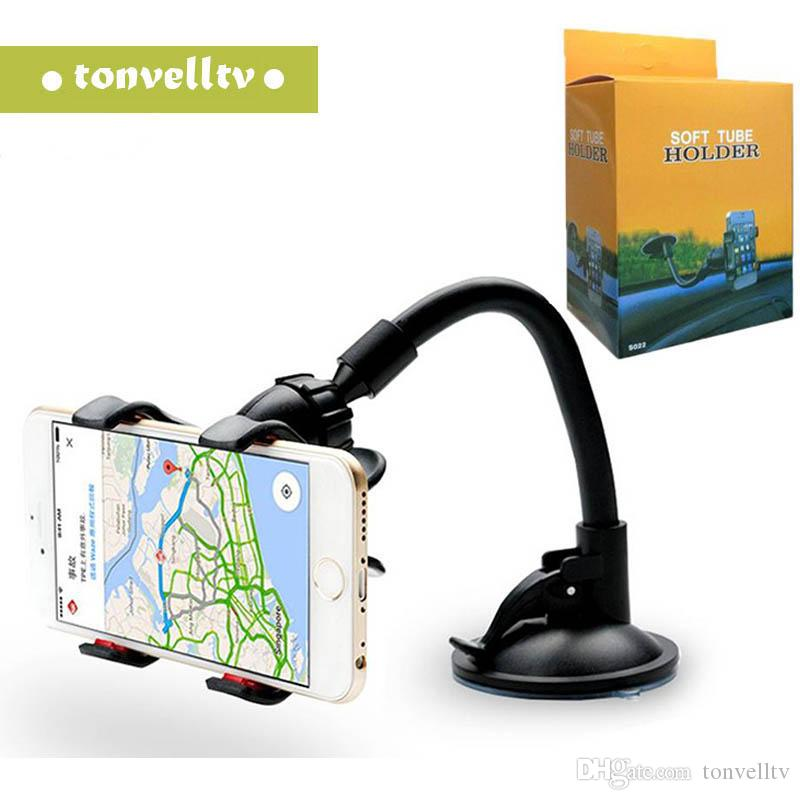 Para o telemóvel duplo Clipe carro montar, fácil de usar Universal Braço Longo / pescoço rotação de 360 ° Titular do pára-brisa de telefone para telefone celular pacote de varejo