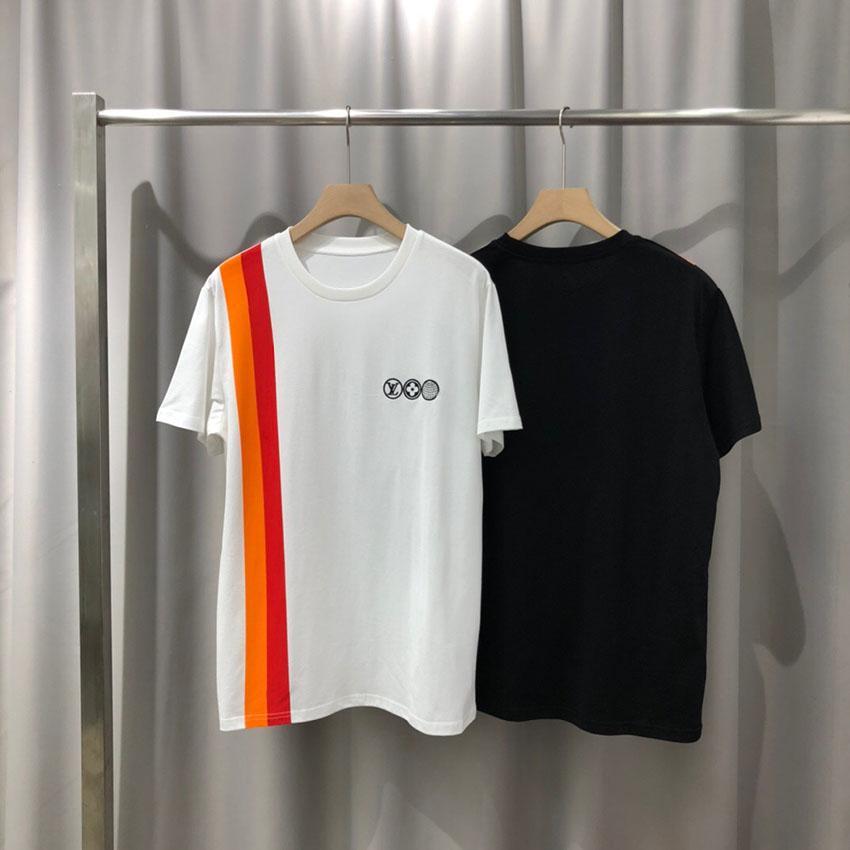 2020ss primavera e algodão novo alto grau de verão impressão de manga curta rodada painel pescoço t-shirt Tamanho: m-l-xl-XXL-XXXL Cor: q386 preto branco