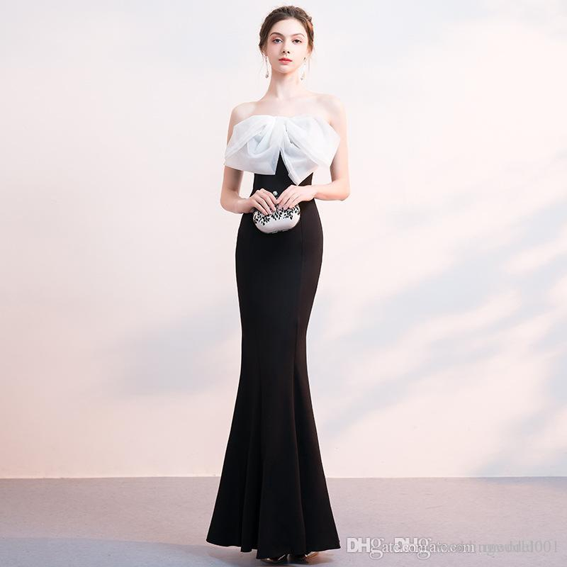 2020 summer tube top mermaid strapless evening dress with lace applique long ball gown robes