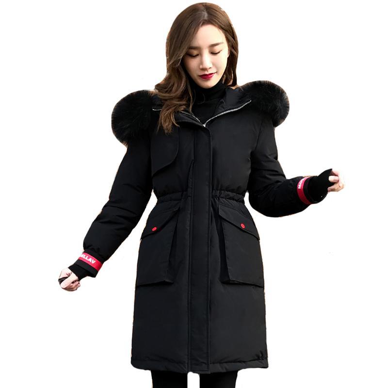 Plus Size 5XL 6XL Giacca invernale da donna 2019 Nuova con cappuccio con collo in pelliccia Cappotto in piumino femminile Outwear lungo Parka SH190913