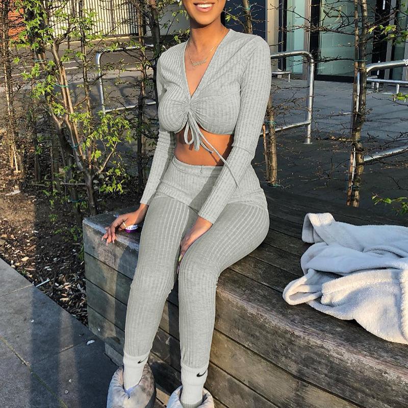 Donne 'S Due set di pezzi Scollo a V lungo sexy manica Crop Top Pantaloni autunno femminile coordinati Streetwear Tute Size S-L