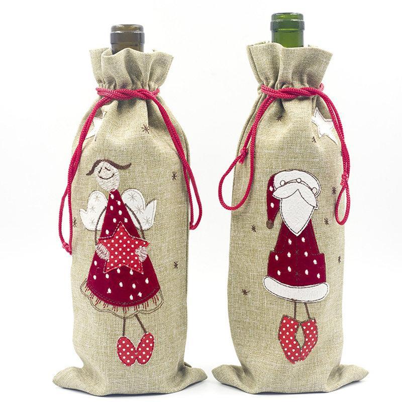 Ev Çuval bezi Nakış Melek Yaşlı Adam Şarap Şişesi Kapağı Seti Noel Hediyesi Çanta Santa Çuval Noel Dekorları için Noel Süsleri
