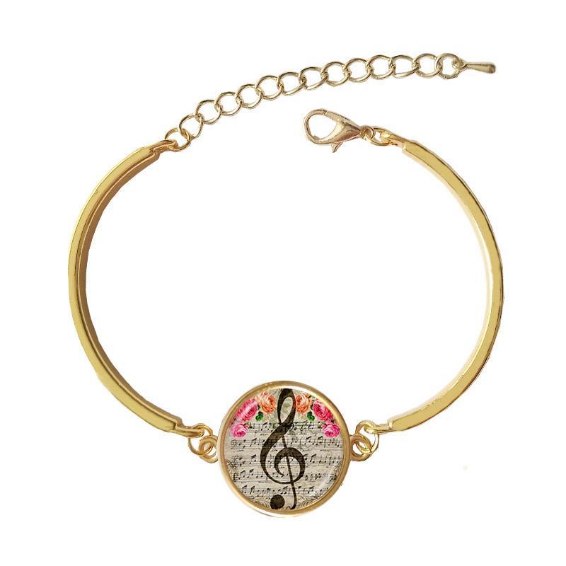 Ztung Cab15 para Mo pulsera clásica Music Note Bangle Cabujón de cristal cúpula encanto para mujer y hombre regalo maravilloso Y19061003