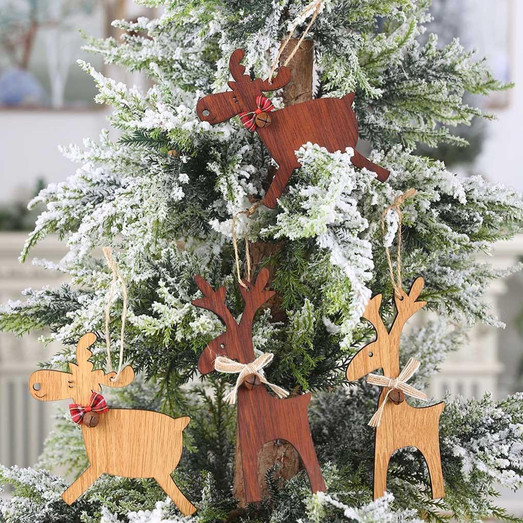Creative Wood Elk Pendenti Decorazioni dell'albero di Natale albero di Natale Deer ornamenti ornamenti di goccia per il nuovo anno 2020