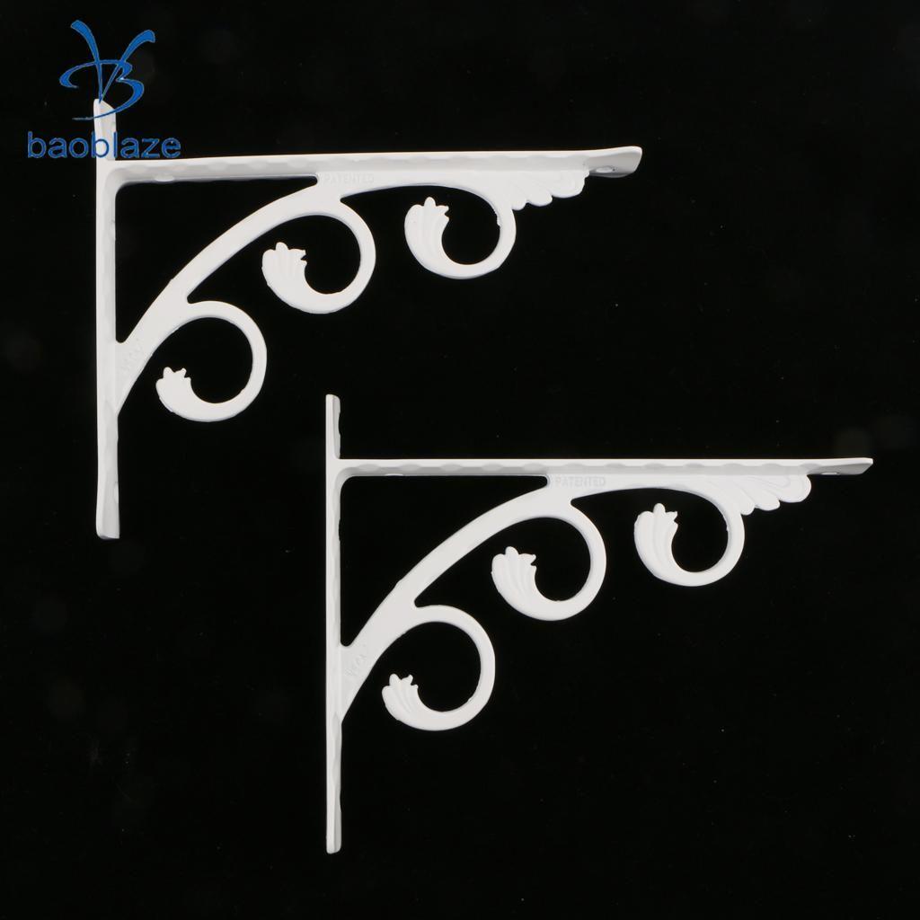 2 piezas blancas en forma de L soporte de repisa montado en la pared del cuarto de baño estantes de la cocina Titular de aluminio ahueca el arte para Home Improvement