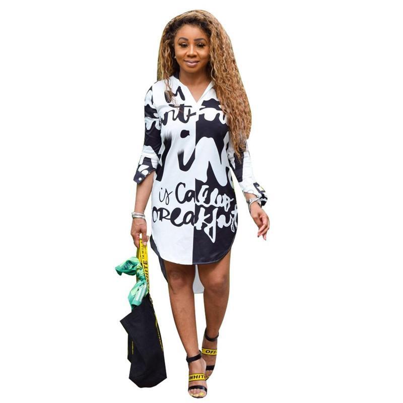 Frühlings-Herbst-Damen Designer-Hemd-Kleid-Buchstabe gedrucktes Revers-Ausschnitt-Hülsen-unregelmäßiges Kleid Mode Frauen Kleidung