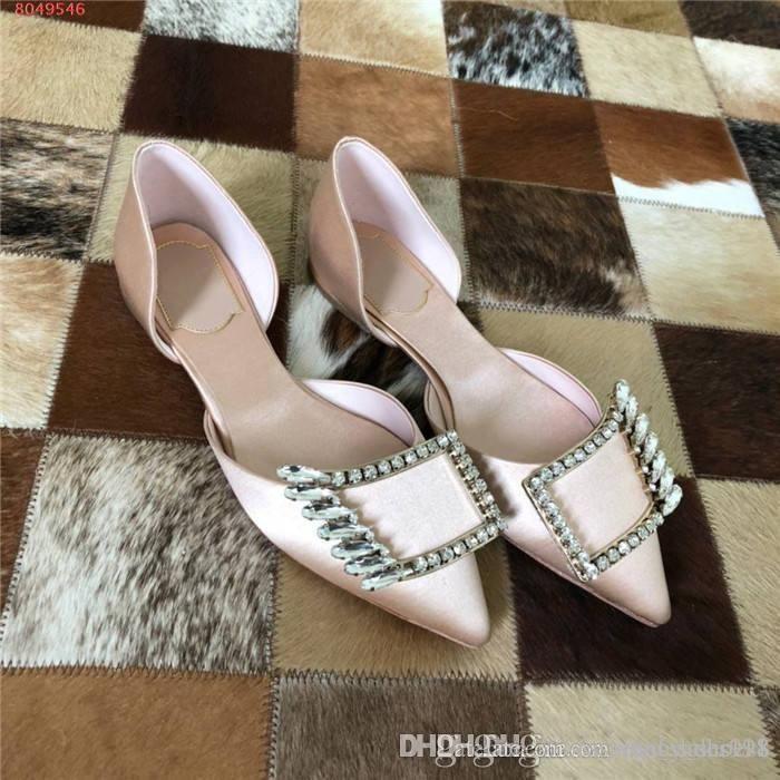 Le nuove donne 2020 sandali della piattaforma con fibbie diamante, punta aguzza con coperchio tallone e seta low-cut sandali, con la confezione completa