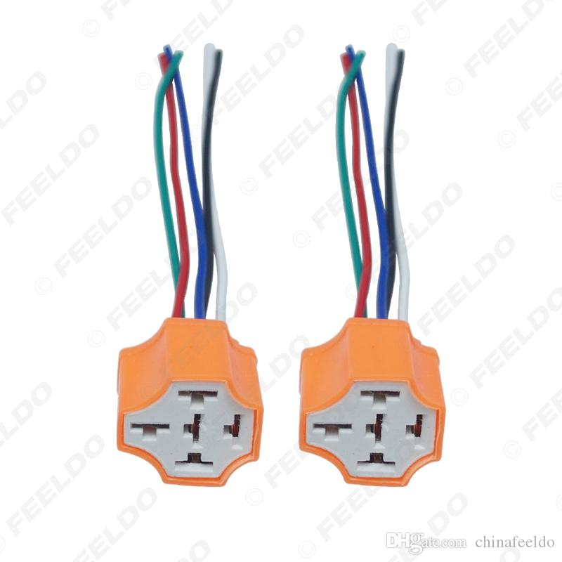 2pcs Car 5Pin Headlight Ceramic Socket Extension Plug LED HID Light Adapter With Wiring Harness Connector #5943