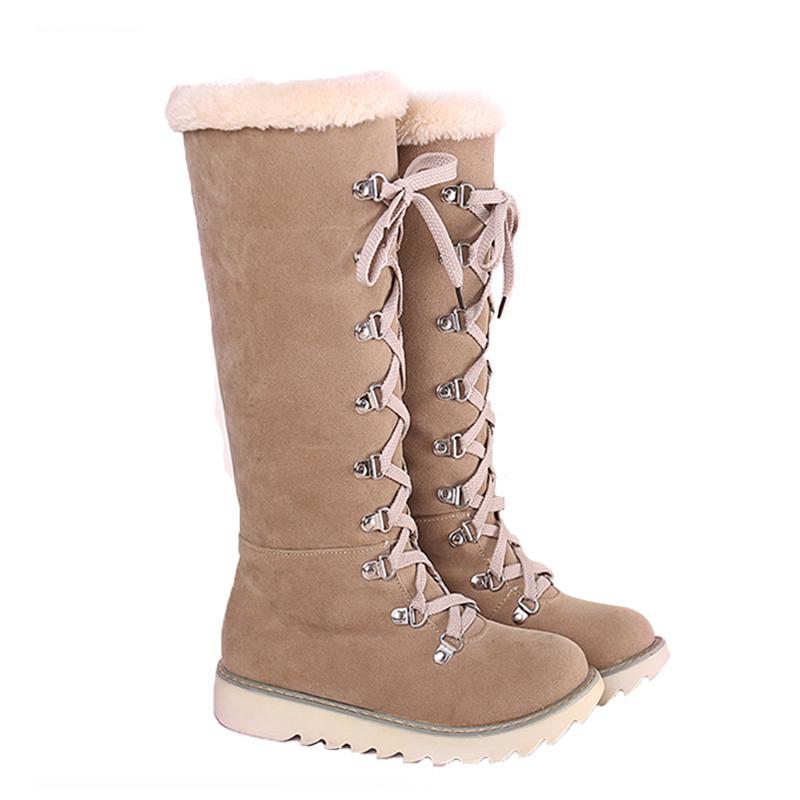 KARIN 2018 Grande Taille 34-43 Beige Chaussures Femme Femme bottes de neige Casual confortable genou chaud d'hiver en peluche Chaussures Bottes