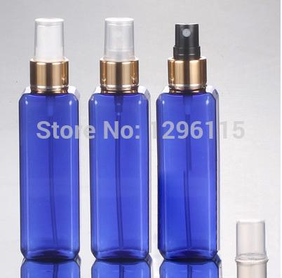 wholesale100ml azul transparente bomba de aspersión Botella cuadrada botellas recipiente de plástico 50pc / lot liberan el anodizado