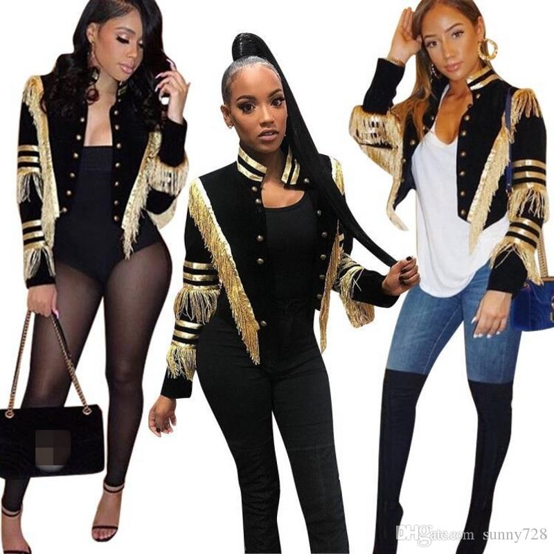 Новые 2019 осень зима золотые кисточки с длинными рукавами женские куртки потрясающий стенд шеи кнопки стиль леди девушки полушубки и пиджаки