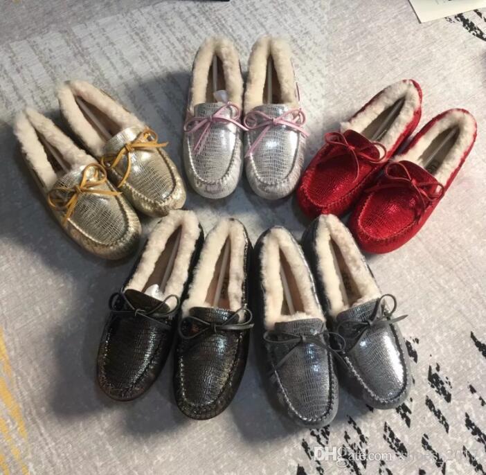 Senhoras da marca botas à prova d 'água inverno macio sapatos senhoras e mulheres Cos Lok Fu sapatos de pele de couro ervilhas sapatos botas de neve