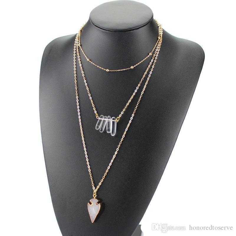 5 Colors Multilayers Arrow Druzy Drusy Earrings Necklace Gold Resin Crystal Druse Pendant Neck Women Jewelry