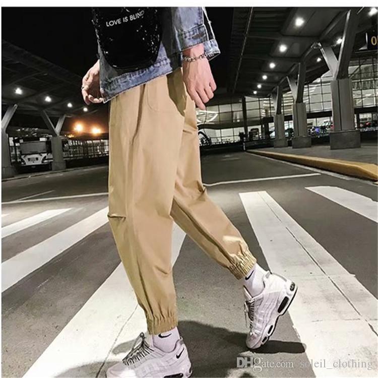 New INS hot boys cotton blend pants men's casual pants men's cargo pants black Khaki colors optional