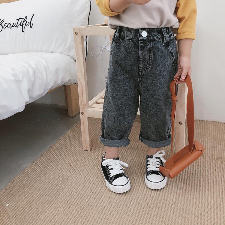 Primavera Outono fashion girls Ultra-wide-perna meninos de jeans Kids 2 cores solta casuais calças jeans 1-7Y S200110