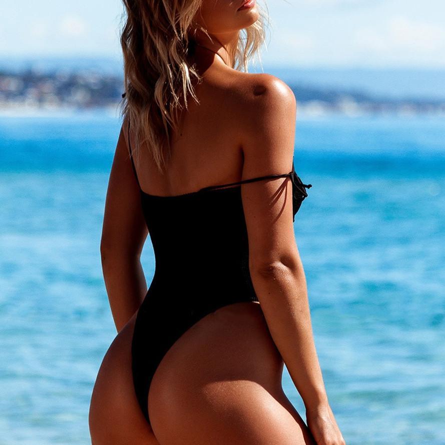 말로 표현할 수없는 새로운 폭발 모델 단색 검정 테 종 BU 원피스 수영복 섹시한 높은 슬릿 수영복