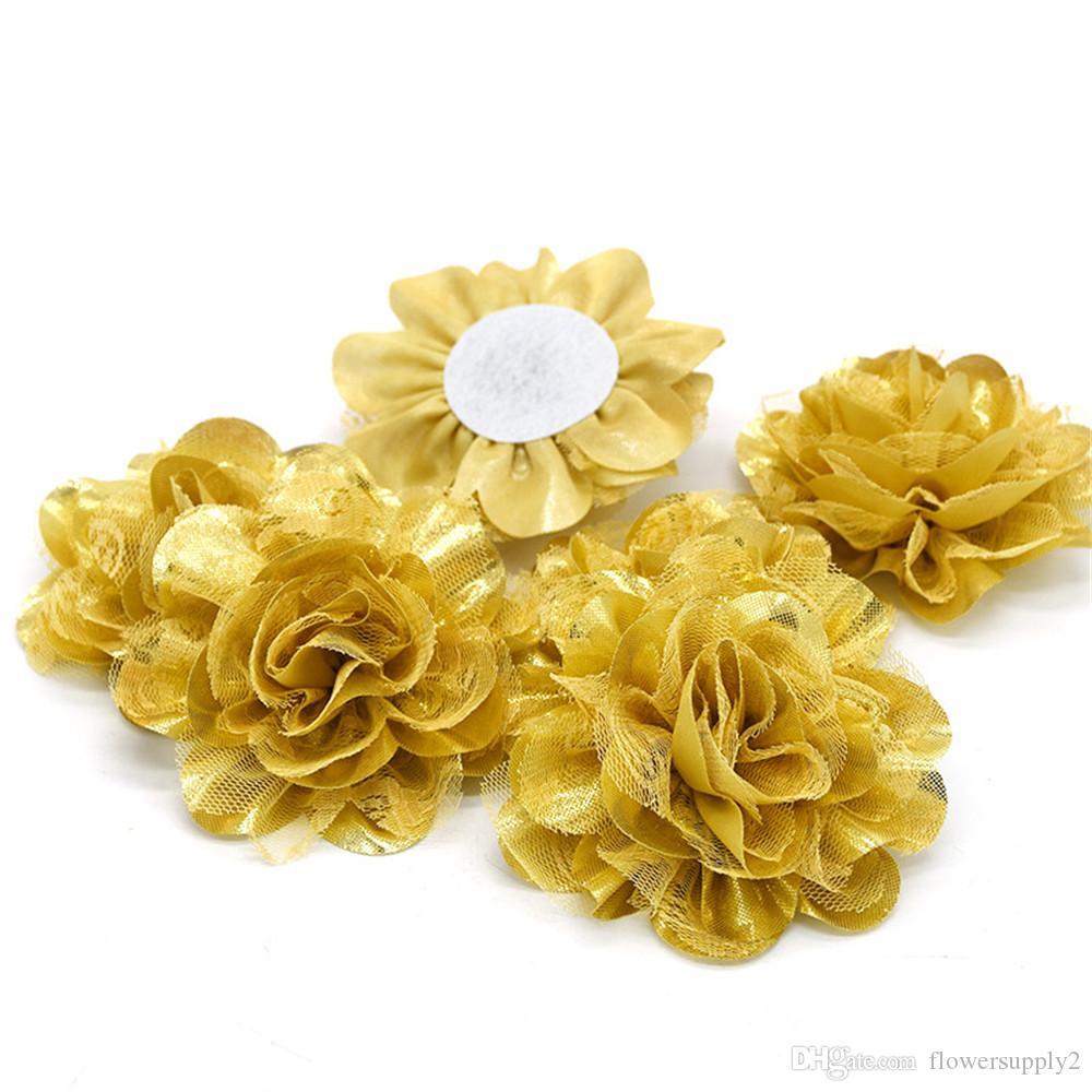 """3.75 """"수제 쉬폰 여자를위한 레이스 꽃 반짝 이는 꽃 headwear DIY 의류 헤어 액세서리 머리띠 코사지 용품"""