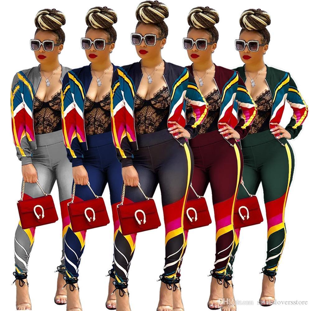 2019 Nueva moda para mujer Top y pantalones Set raya Diseño Chándal Sudaderas atractivas de las mujeres Traje deportivo Ropa de gimnasia