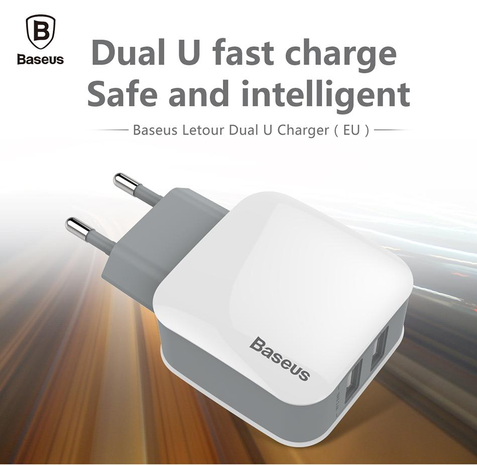 Baseus 2 USB Charger UE desmontáveis para Samsung Huawei Xiaomi Dual USB Porto de viagem carregador de parede do telefone móvel carregador USB Adapter 5V2.4A