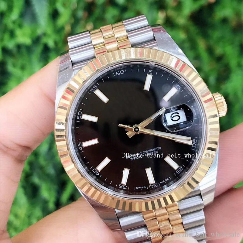 Лавочник рекомендую высокое качество роскоши 41 сталь 18k золотой черный циферблат автоматические мужские часы 126333 2020 лучший подарок