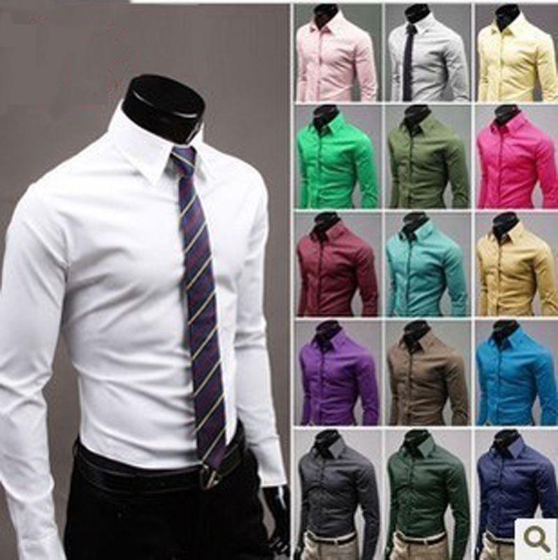 남자 슬림 맞는 코 튼 블렌드 쉬운 케어 비즈니스 셔츠 캐주얼 솔리드 긴 소매 단추 아래로 드레스 셔츠 17 색 크기 (M-3XL) 6492