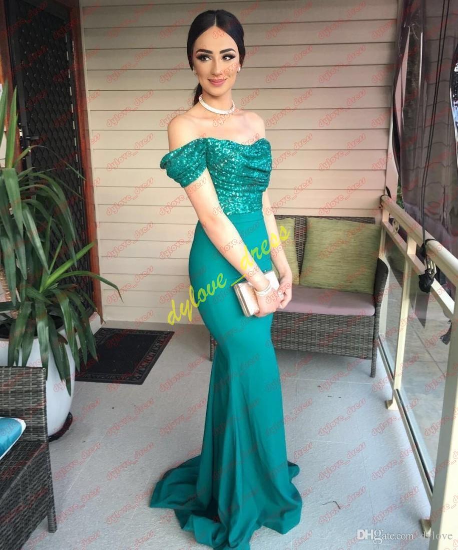 2019 sexy elegante árabe largo más tamaño lentejuelas africano negro niña vestidos de fiesta vestidos de fiesta vestido formal verde vestido de noche sirena