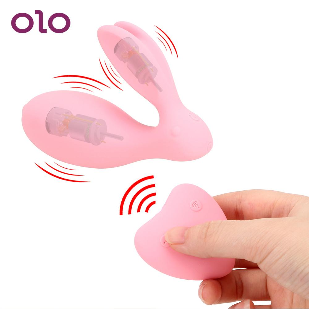 Olo 이중 충격 입고 점프 계란 원격 제어 진동기 질 공 Clitoris 자극기 무선 G 반점 토끼 진동기 SH190731