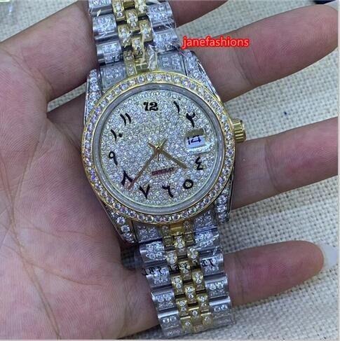 Montre à diamants pour hommes, bi-or, bracelet en acier inoxydable, boutique, vente chaude, montres, échelle arabe, montre mécanique automatique
