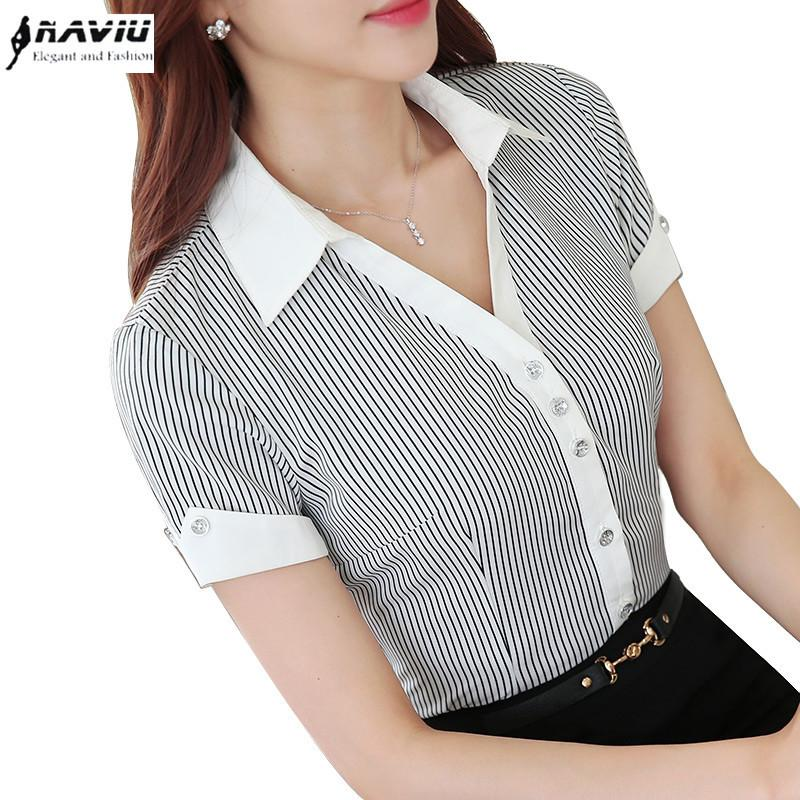 Summer Formal Plus Size Women Shirt Ol Professional Slim Chiffon Stripe Blouse Office Ladies Elegant Work Wear Tops Y19062601