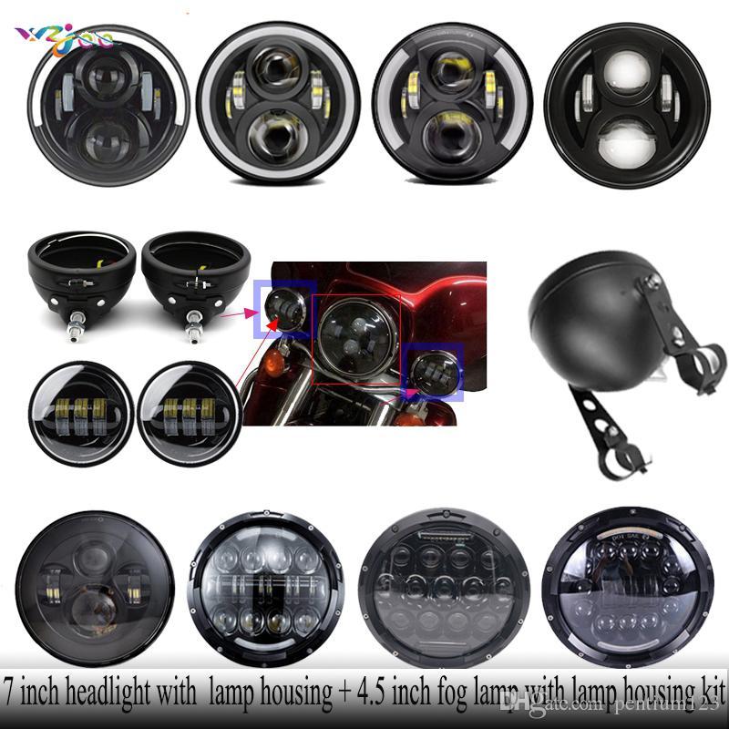 7 inç far lambası konut + 4.5 inç sis lambası ile lamba konut kiti ile Motosiklet Touring motor için