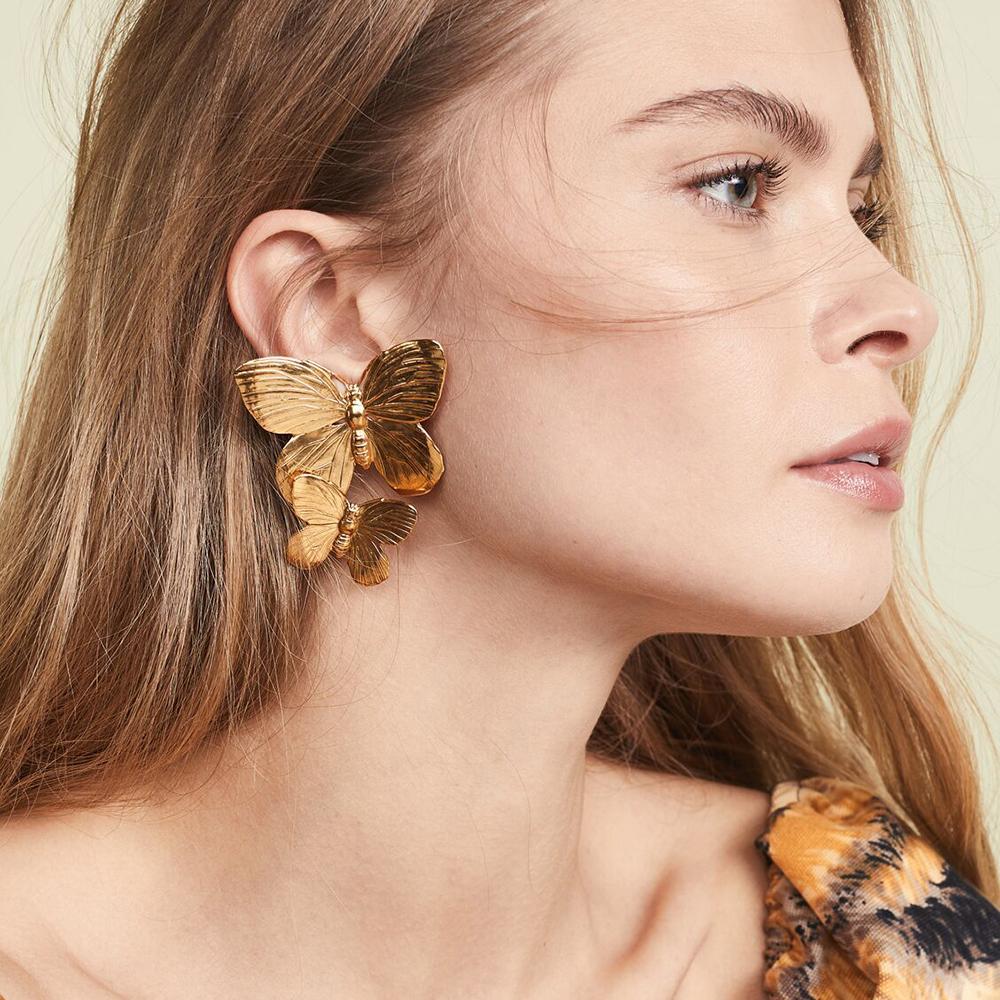 Flatfoosie 2019 moda borboleta metal brincos por Mulheres Wedding Declaração de jóias de ouro prata Vintage Dangle Earing