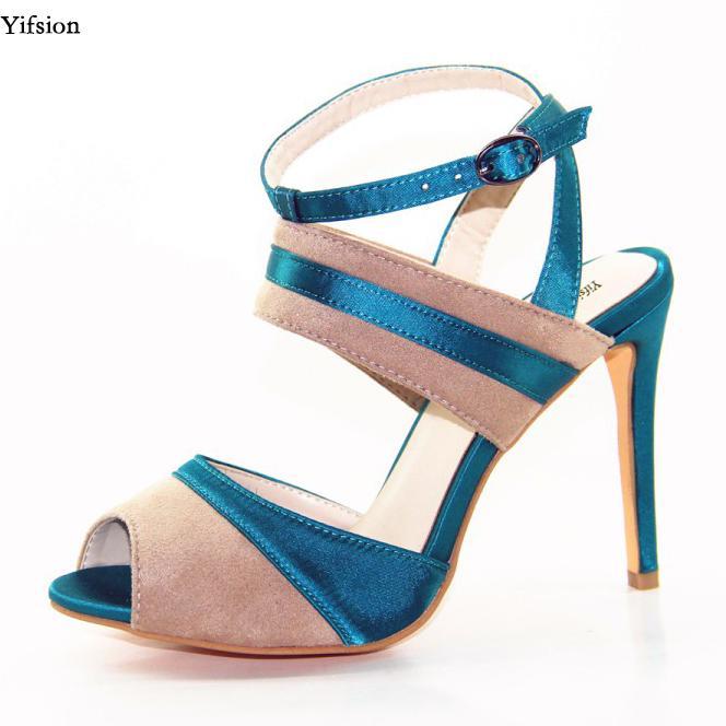 Yifsion nuove donne cinturino alla caviglia sandali scarpe tacco alto scarpe sexy peep toe fascino verde ufficio scarpe donna usa plus size 4-10.5