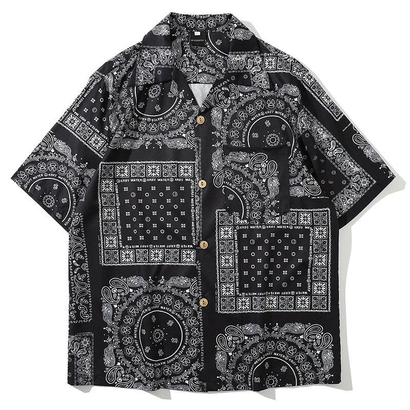 Court UNCLEDONJM Mode Chemise à manches Hommes 2020 Été Hawaï Hip Hop Streetwear Homme Chemise à manches courtes 8008